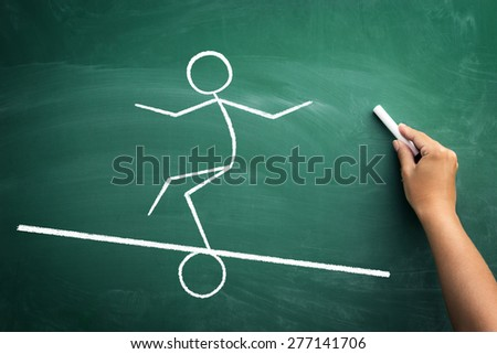 Funny sketch of manikin balancing on beam scale, concept -  maintaining life balance - stock photo