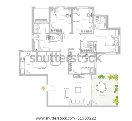 furniture is on architect plan of the flat - stock photo