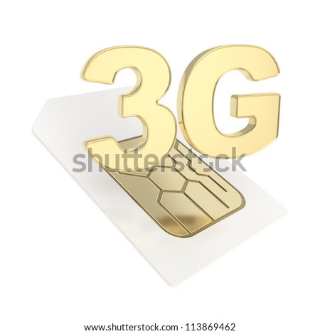 3G circuit microchip SIM card emblem isolated on white background - stock photo