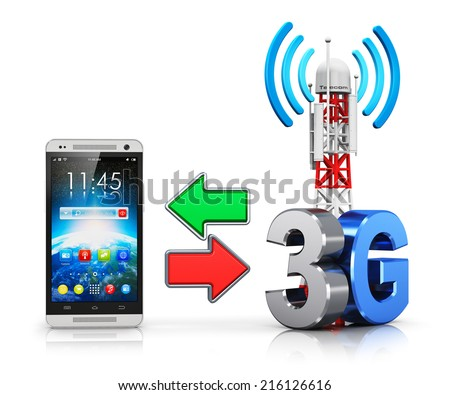 3G digital cellular telecommunication technology and wireless connection business concept: smartphone and mobile base station or TV transmitter antenna pylon with 3G sign or symbol isolated on white - stock photo