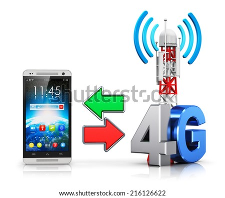 4G digital cellular telecommunication technology and wireless connection business concept: smartphone and mobile base station or TV transmitter antenna pylon with 4G sign or symbol isolated on white - stock photo