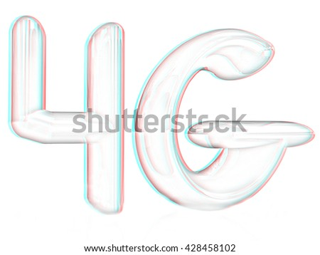 4g internet network. 3d text. Pencil drawing. 3D illustration. Anaglyph. View with red/cyan glasses to see in 3D. - stock photo