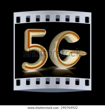 5g internet network. 3d text. The film strip - stock photo