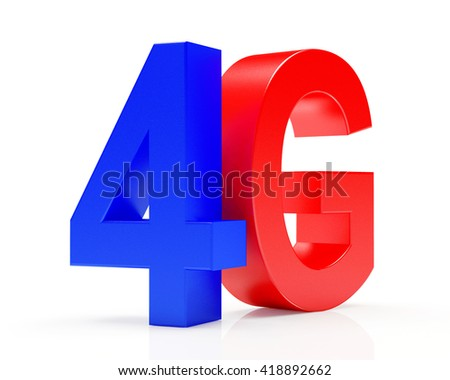 4G mobile wireless communication colorful symbol isolated on white background. 3d illustration - stock photo