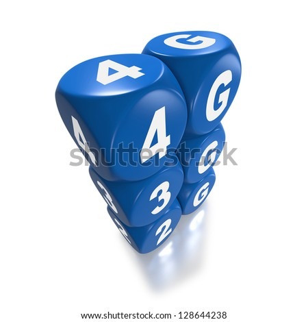 4G networks replaces 3G and previous technology in connecting mobile devices on white background represented by dice or cubes