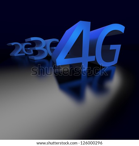 4G networks replaces 3G and previous technology in connecting mobile devices  perspective on black background - stock photo
