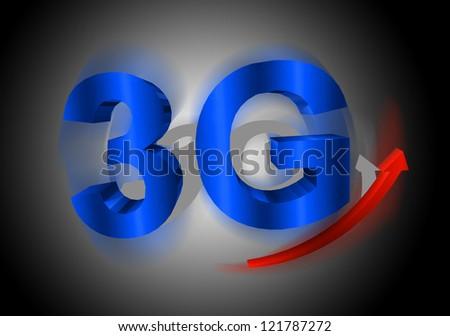 3G symbol with arrow - stock photo