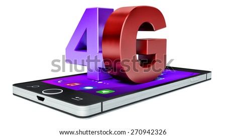 4G wireless communication technology symbol on smartphone with color interface - stock photo