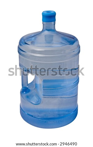 5 gallon bottle of drinking water isolated on white background - stock photo