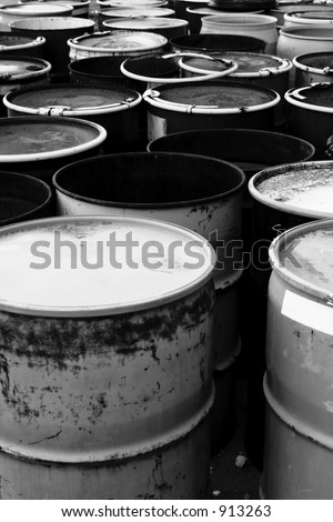 55 gallon waste drums - stock photo