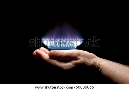 gas in hands - stock photo