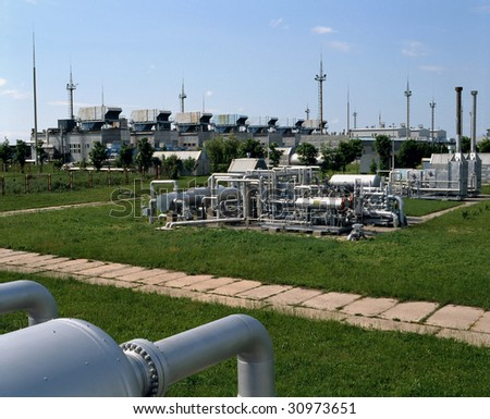 Gas Plant.  Supply of natural gas and LPG (LIQUEFIED OIL GAS) to industry, commercial and household sectors. - stock photo
