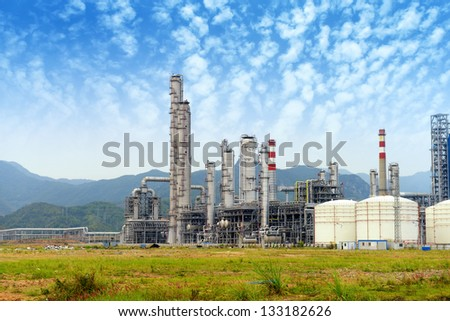gas processing factory. landscape with gas and oil industry - stock photo