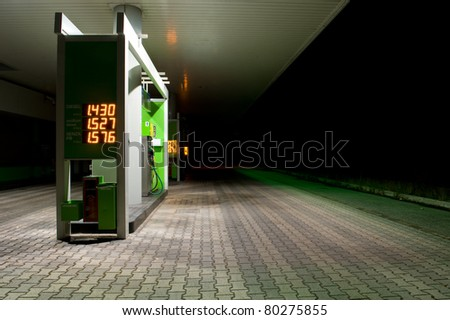 Gas station at night. - stock photo