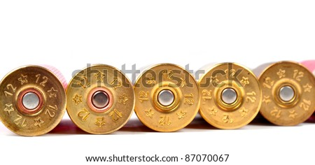 12 gauge red shtogun shells used for hunting - stock photo