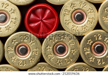12 gauge shotgun shells used for hunting - stock photo