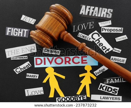 Gavel and paper couple with Divorce related messages                             - stock photo