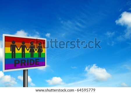 'Gay Pride' - photo realistic sign against bright blue sky, with space for your text / editorial overlay