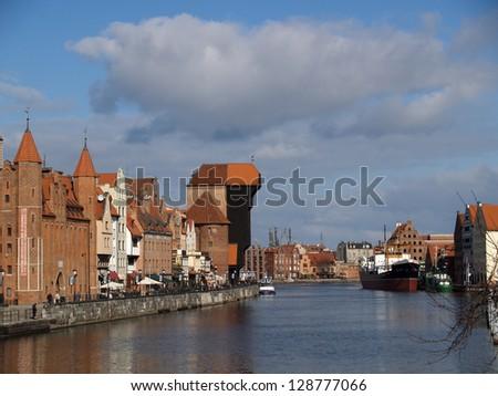 Gdansk, Poland  Motlava River Embankment - stock photo