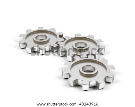 Gear cogs isolated on white background. - stock photo