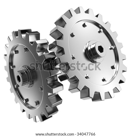 2 gears connected together. High resolution rendered.