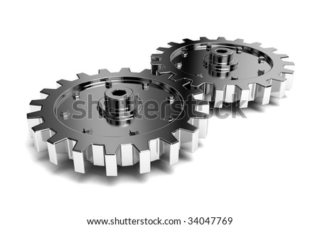 2 gears connected together. High resolution rendered. - stock photo