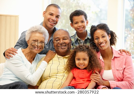 3 Generation family at home - stock photo