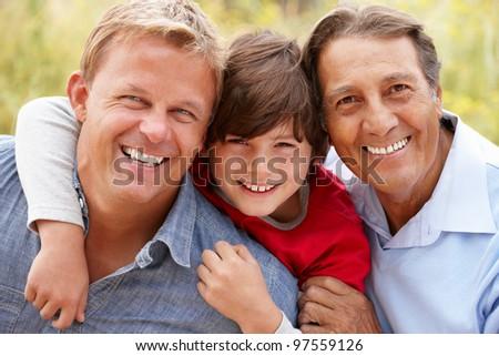 3 generations Hispanic men - stock photo