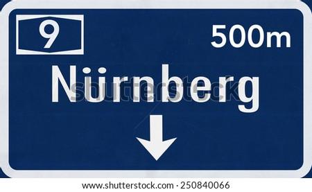 Germany Nurnberg / Nuremberg Highway Sign - stock photo