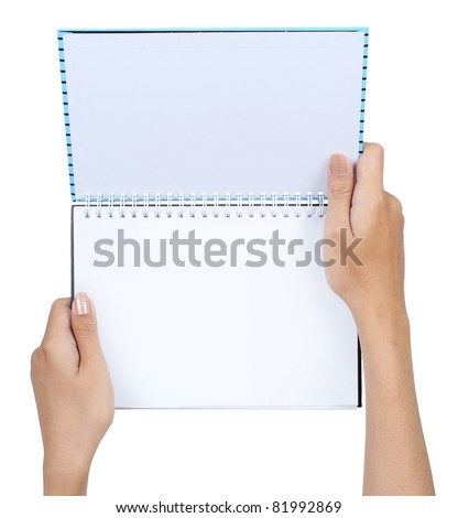Gesture of hand holding a book isolated on white background - stock photo