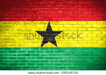 ghana flag,wall texture background - stock photo