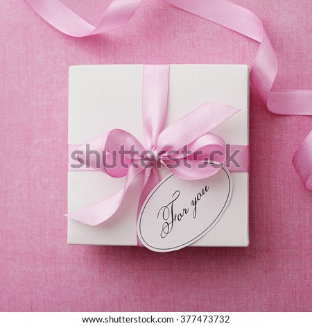 gift box with gift tag. valentines day - stock photo