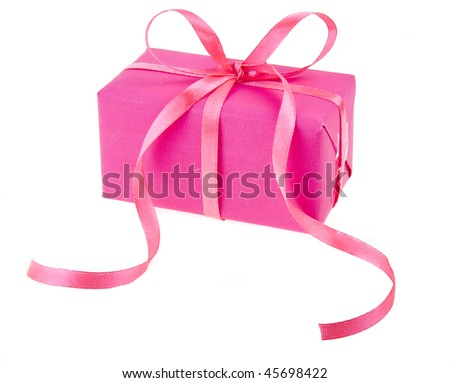 gift box with red ribbon bow , isolated on white background - stock photo