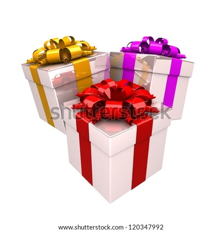 3 gift boxes, with a colorful ribbon like a present. over white background 3d illustration.