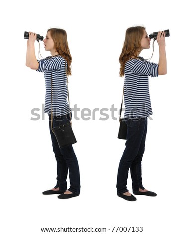 girl dressed in sailor's with binocular on white background - stock photo