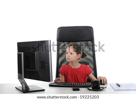 girl in the office computer. Isolated on white background - stock photo