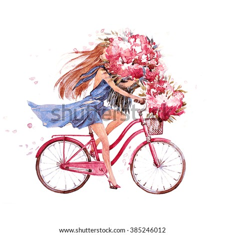 girl on bike.  bicycle. bike. peony. peonies.  this picture can be used as a background , an independent object, as decoration, in postcards , wallpaper , printing.jpg - stock photo