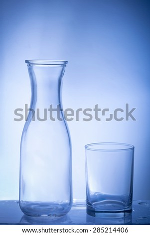 glass bottle  glass bottle  on blue background