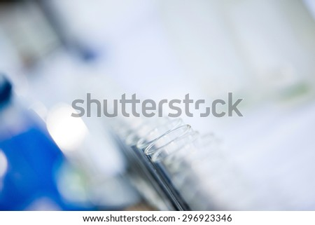 glasses defocused on buffet table in restaurant and blurred background