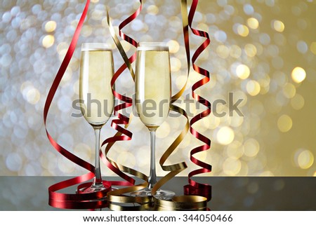 Glasses of champagne for celebrations. - stock photo