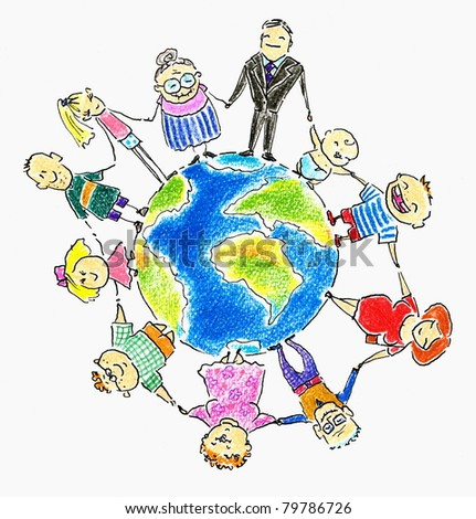 Global family-people different age around the Earth.Picture I have created with colored pencils.