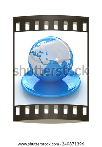 Globe on a saucer on a white background. The film strip - stock photo