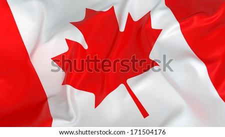 Glossy Canadian Flag - stock photo