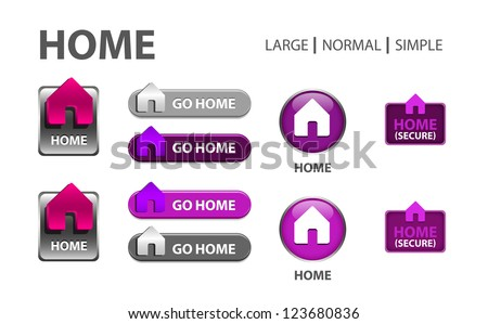 glossy web button with home sign. home shape icon with shadow - stock photo