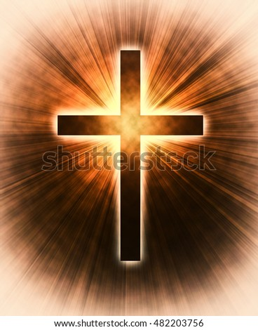 glowing cross on a black background, with radial rays of light