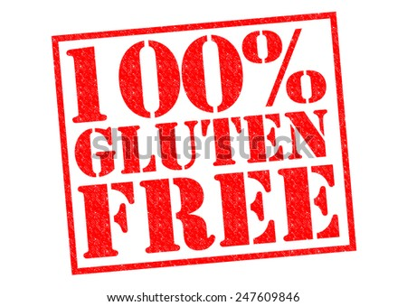 100% GLUTEN FREE red Rubber Stamp over a white background. - stock photo