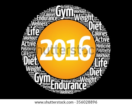 2016 Goals circle word cloud, health concept background - stock photo