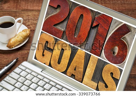 2016 goals - New Year resolution concept - isolated text in vintage letterpress wood type printing blocks on a laptop screen with a cup of coffee - stock photo