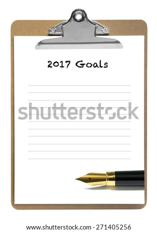2017 goals note pad - stock photo