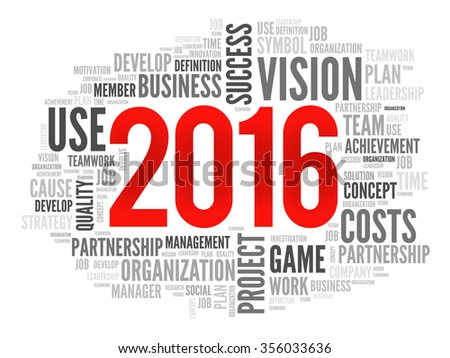 2016 goals plan, project word cloud, business concept background